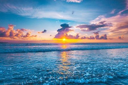 Sunset over sea on Bali, Seminyak, Double six beach Stock Photo