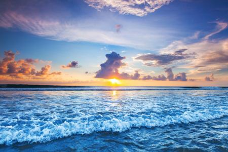 Sunset over sea on Bali, Seminyak, Double six beach 스톡 콘텐츠