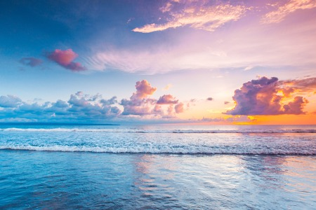 Sunset over sea on Bali, Seminyak, Double six beach Stock Photo