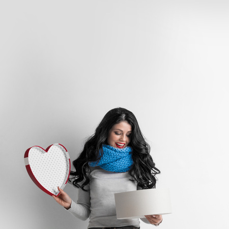 heart shaped box: Woman open heart shaped box, Valentines day love concept