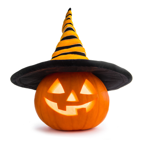 Jack O Lantern Halloween pumpkin with witches hat isolated on white background Stock Photo - 87970232