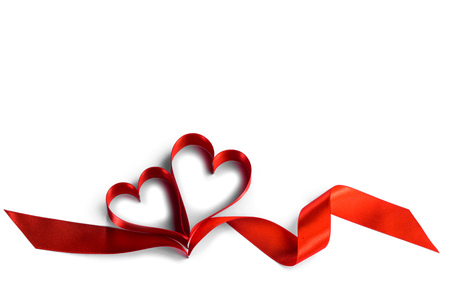 Two ribbon hearts isolated on white background