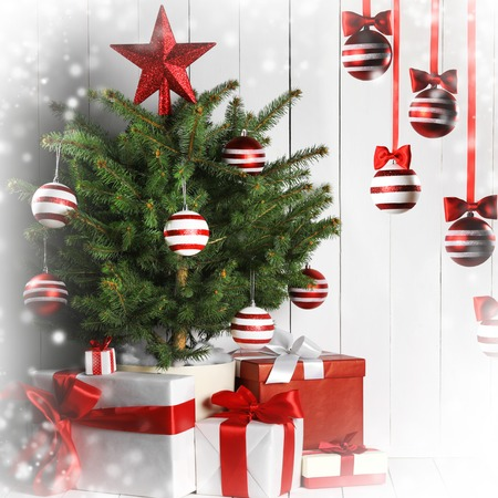 merry christmas card with decorated christmas tree and gifts stock photo 90598241 - Merry Christmas Card