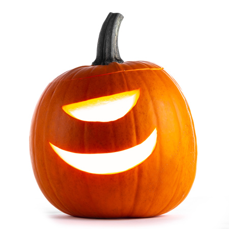 Cyclops Halloween Pumpkin isolated on white background
