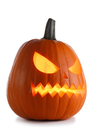 One Halloween Pumpkin isolated on white background Banco de Imagens