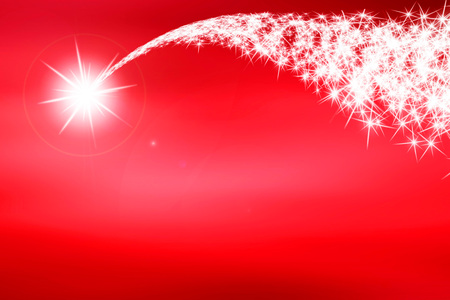 Shooting star on red background, abstract illustration