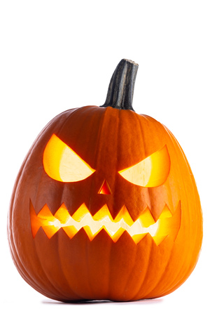 One Halloween Pumpkin isolated on white background Imagens