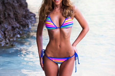 Beautiful woman in bikini on beach at Maya bay, Thailand Stok Fotoğraf