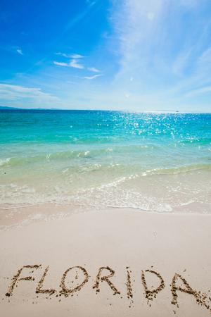 Turquoise water and golden sand with  florida  written on it