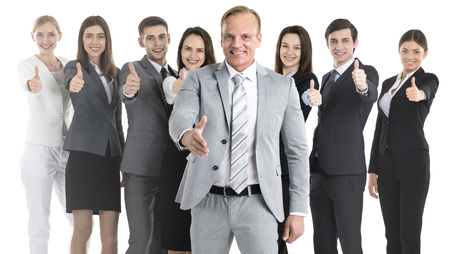 Happy business people cheering and showing thumbs up sign , manager with outstretched hand for greeting isolated over white background