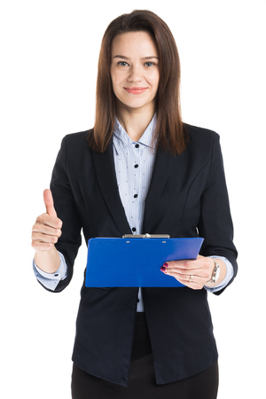 Beautiful businesswoman holding blue folder with thumb up sign isolated on white background