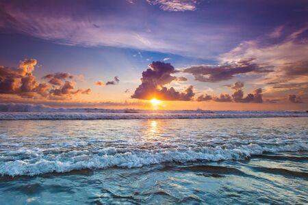 Radiant colorful sea beach sunset on Bali, Indonesia