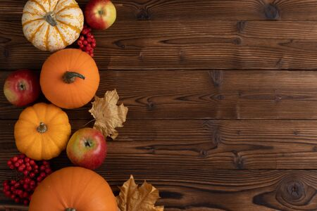 Autumn harvest still life with pumpkins , apples and rowanberry on wooden background , top view 写真素材