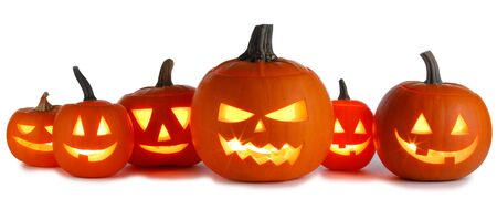 Six Halloween Pumpkins isolated on white background Imagens