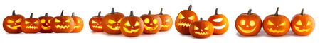 Set of Halloween Pumpkins isolated on white background