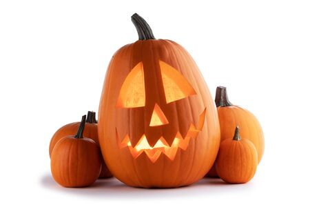Halloween Pumpkins isolated on white background Imagens