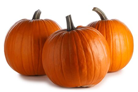 Three perfect pumpkins isolated on white background Imagens