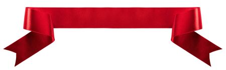 Red satin ribbon banner isolated on white background 版權商用圖片 - 131568990