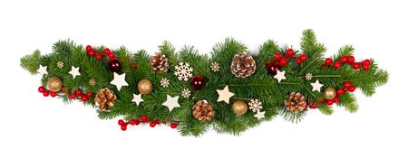 Christmas Border frame sripe of tree branches isolated on white background , red and wooden decor, berries, stars