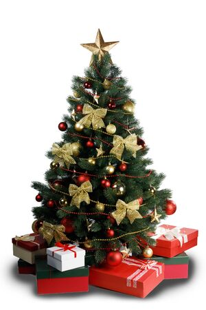 Decorative Christmas Tree and gifts isolated on white background Stockfoto