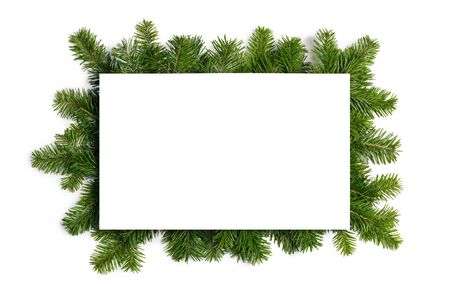 Natural fir Christmas tree border frame isolated on white , copy space for text Stockfoto