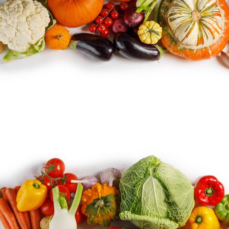 Harvest of many vegetables , top view flat lay background, white copy space for text Reklamní fotografie - 132230527