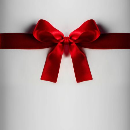 Red gift satin bow on light background
