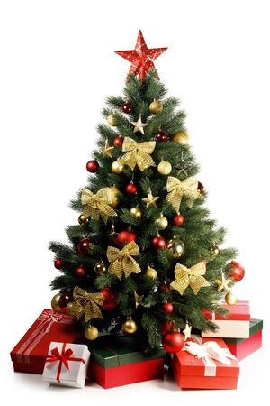 Decorative Christmas Tree and gifts isolated on white background
