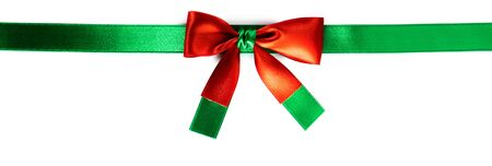 Elegant satin red and green ribbon bow isolated on white background