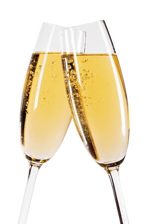 Two glasses of champagne isolated on white background Foto de archivo