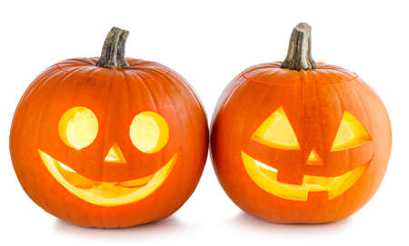 Two Glowing Halloween Pumpkin isolated on white background