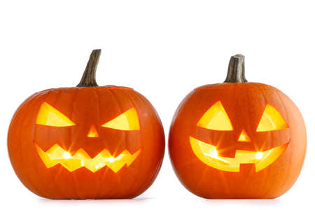 Two Halloween Pumpkins isolated on white background