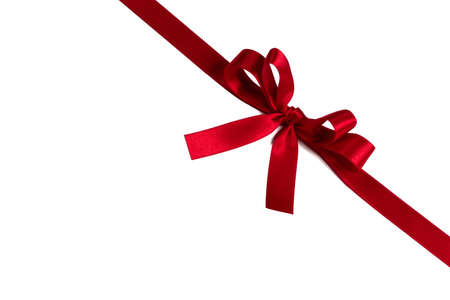 Red gift bow isolated on white background holiday gift concept Zdjęcie Seryjne