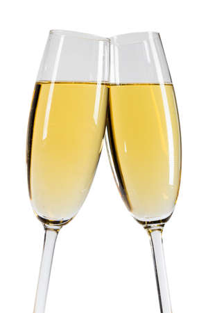 Champagne in two glasses New Year celebration isolated on white background Stock Photo