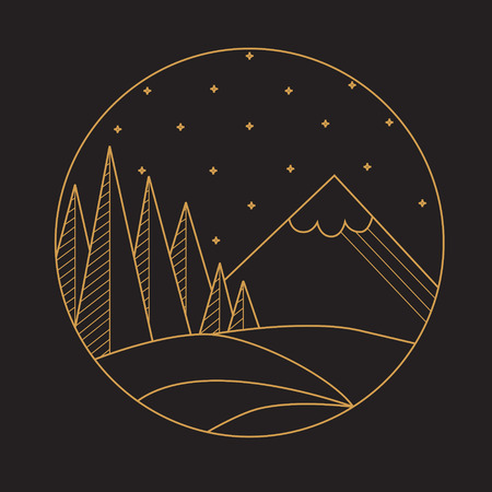 wather: Flat linear  mountain landscape, stars and wather. Flat Vector illustration. Retro vector design graphic element.