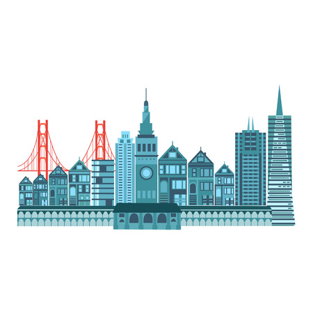 bay area: Seamless san francisco travel icons colorful retro style illustration background pattern in vector