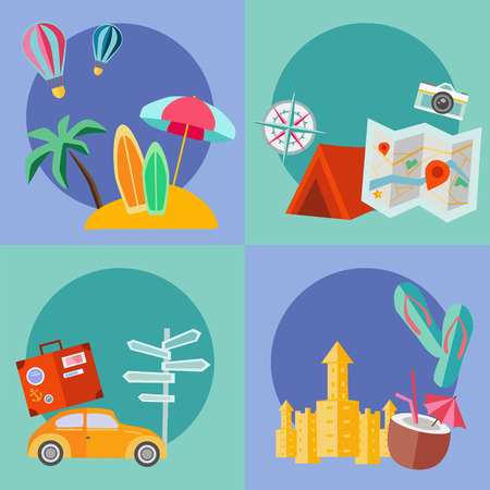 vacation icons set. Flat style design. Vector summer illustration. Vector