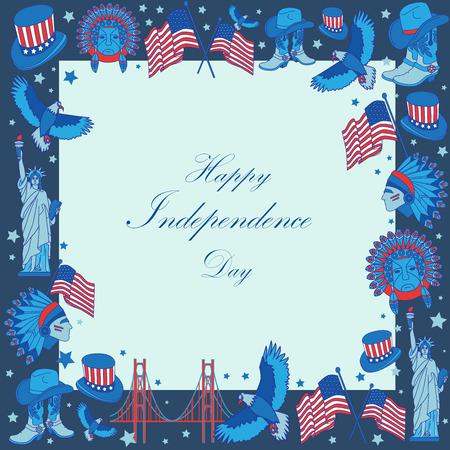 banger: USA Independence day frame. Flat style Illustration.