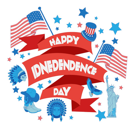 banger: Happy independence day ribbon. Flat illustration typography, t-shirt graphics, vectors Illustration