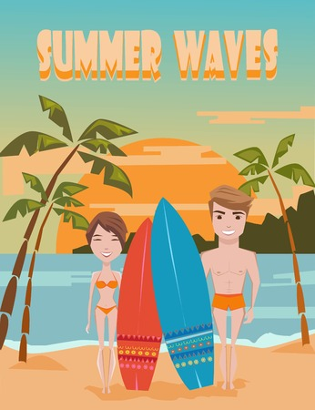 maldives island: Summer Waves. Vintage  summer poster. Surfing couple