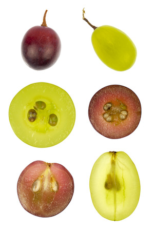 Collage of the in- and outside of red and green grapes isolated in white photo