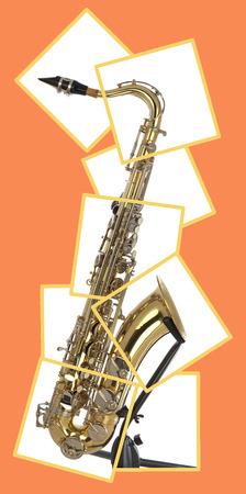 soprano saxophone: Saxo tenor latón con válvulas de plata y botones de perlas en una posición y en un rompecabezas en caja