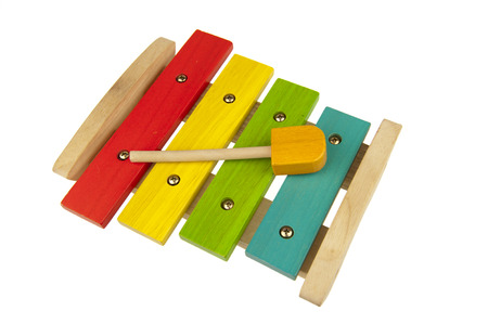 Wooden and colorful children xylophone isolated on white background