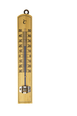 celcius: Conventional blue Mercury room thermometer in celcius scale, isolated in white background Stock Photo