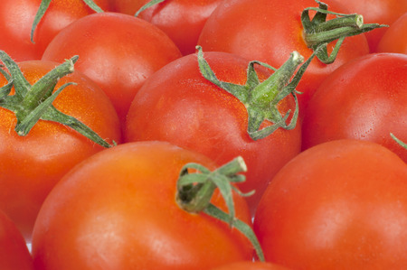 contiguous: Contiguous background texture of red juicy fresh tomatoes in close up
