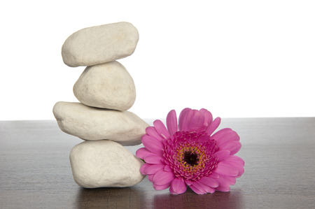 Tower of four white rocks piled up on a dark brown wooden shelf adjacent to pink gerbera photo