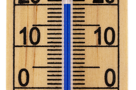 celcius: Straight close up an old fashioned Mercury room thermometer in celcius scale