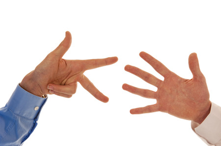 Two hands representing the number eight with fingers isolated in white photo
