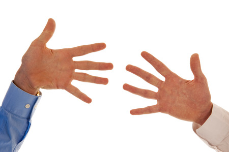 Two hands representing the number ten with fingers isolated in white photo
