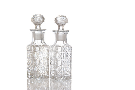 spunky: Two sparky glass olive oil flagons with decorative facet structure Stock Photo